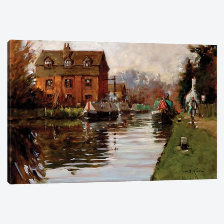 Canal Moorings Canvas Print #JHS11} by John Haskins Canvas Art Print