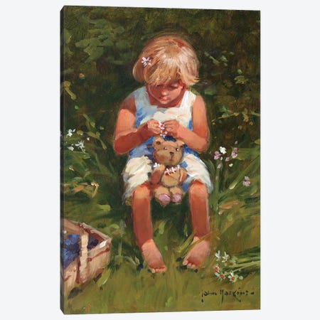 Daisy Girl Canvas Print #JHS14} by John Haskins Canvas Art