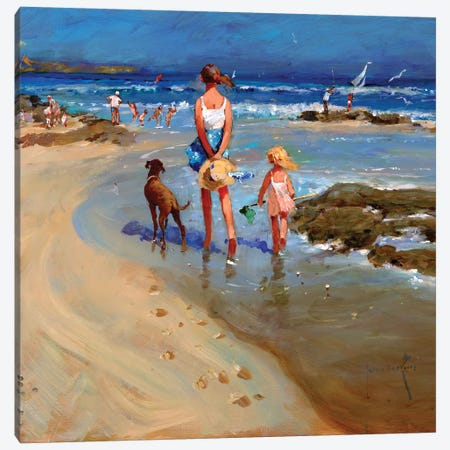 Edge Of The Tide Canvas Print #JHS17} by John Haskins Canvas Artwork