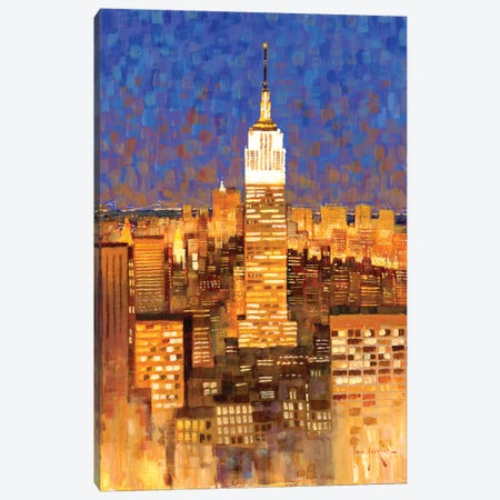 Empire State Building Skyline Canvas Print #JHS19} by John Haskins Art Print