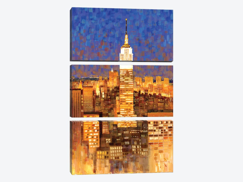 Empire State Building Skyline by John Haskins 3-piece Canvas Print