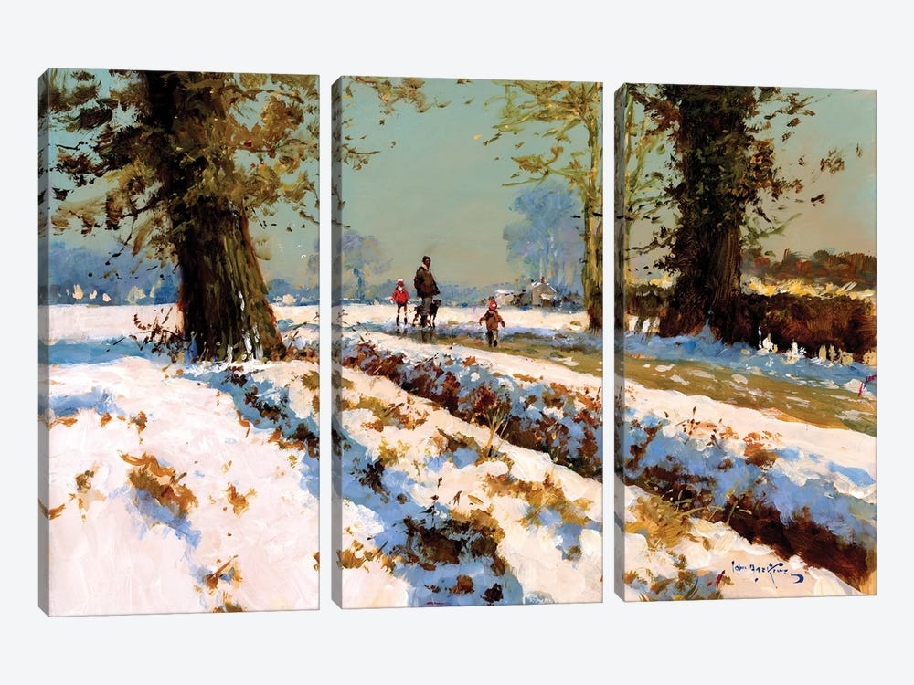Afternoon Snow by John Haskins 3-piece Canvas Art Print