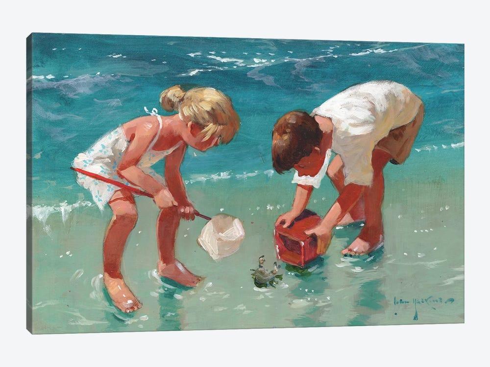 Kids And Crab by John Haskins 1-piece Canvas Artwork
