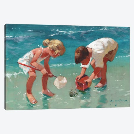 Kids And Crab Canvas Print #JHS29} by John Haskins Canvas Wall Art