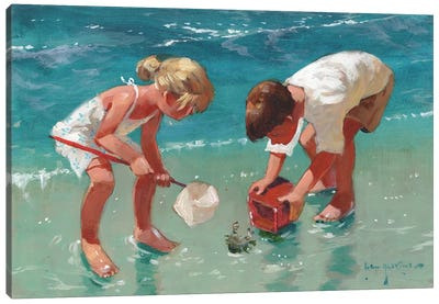 Kids And Crab Canvas Art Print