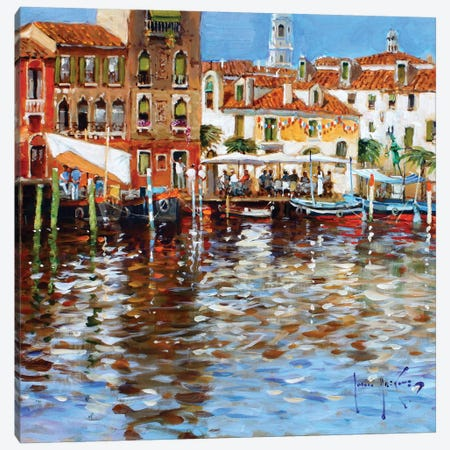 Lunch In Venice Canvas Print #JHS33} by John Haskins Canvas Print