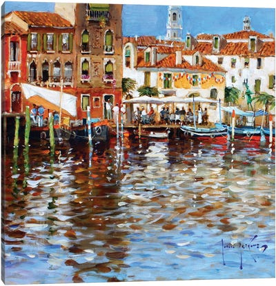 Lunch In Venice Canvas Art Print