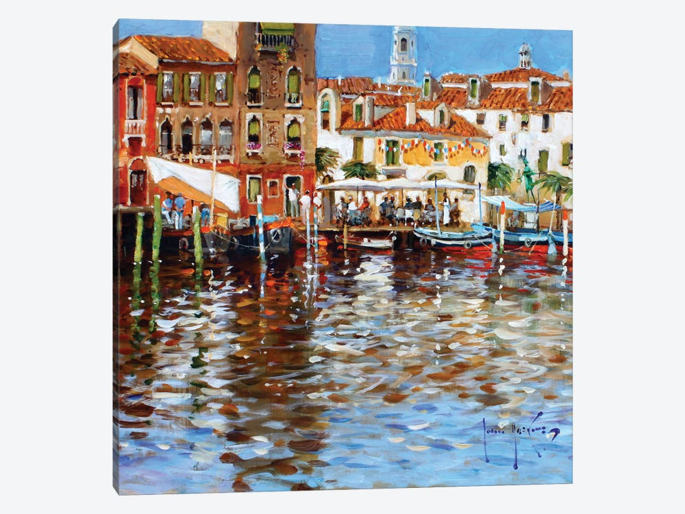 Lunch In Venice by John Haskins 1-piece Canvas Art Print