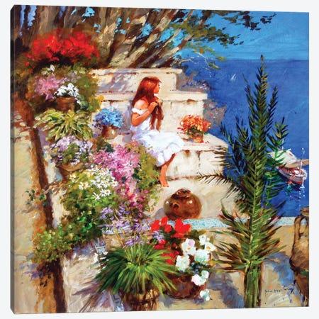 Mallorcan Terrace Canvas Print #JHS34} by John Haskins Canvas Artwork