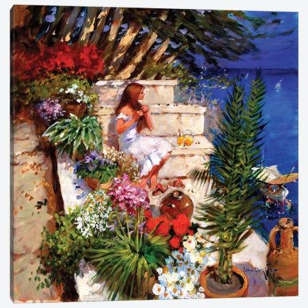 Mallorcan Terrace Canvas Print #JHS35} by John Haskins Canvas Art