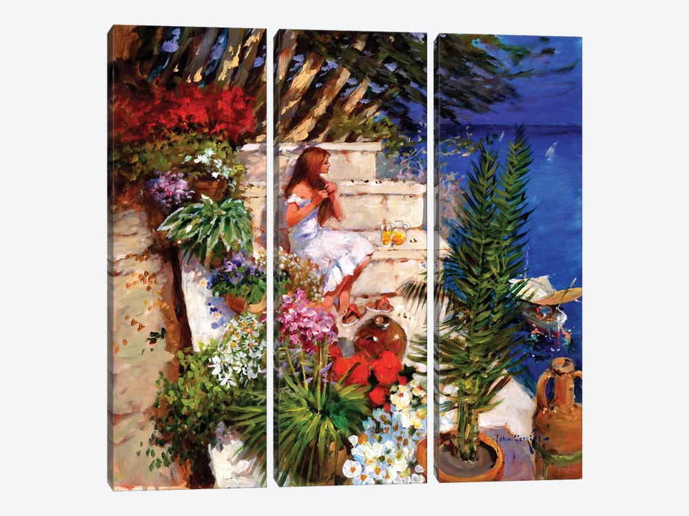 Mallorcan Terrace by John Haskins 3-piece Canvas Print