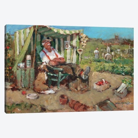 Nap On The Allotment Canvas Print #JHS39} by John Haskins Canvas Art Print