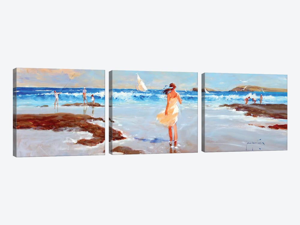 Ocean Ebb by John Haskins 3-piece Canvas Wall Art