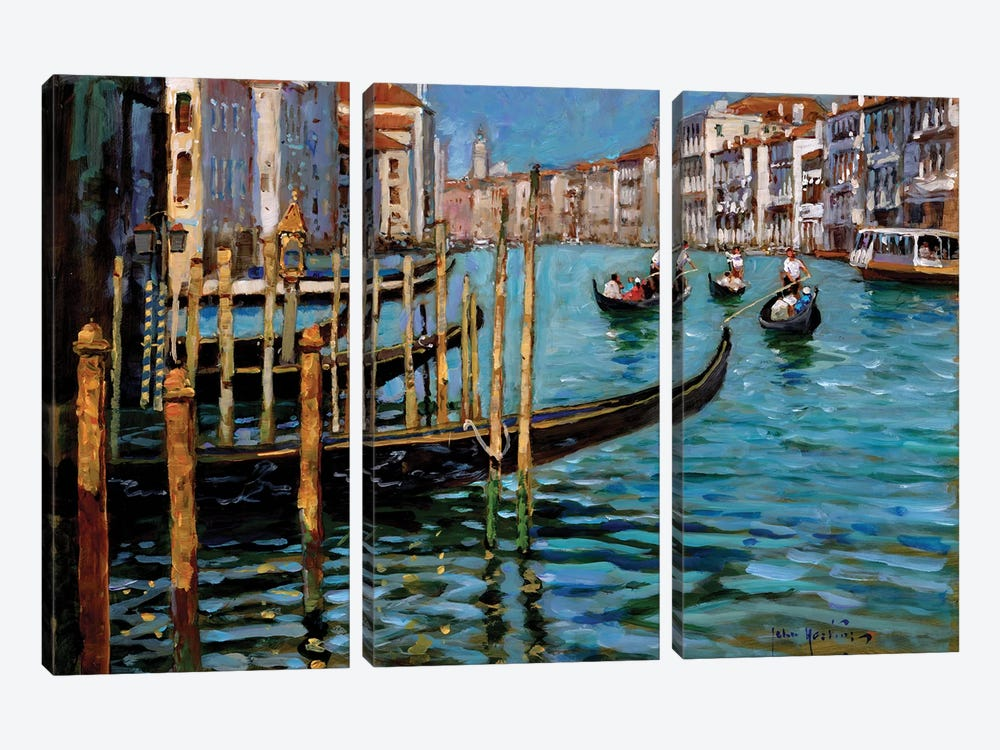 On The Gran Canal by John Haskins 3-piece Canvas Art Print