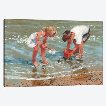 Putting Up A Stand Canvas Print #JHS45} by John Haskins Canvas Art Print