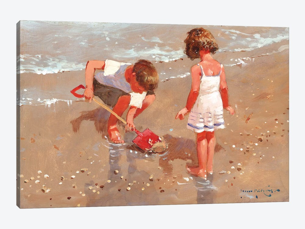 Shellseekers by John Haskins 1-piece Canvas Art