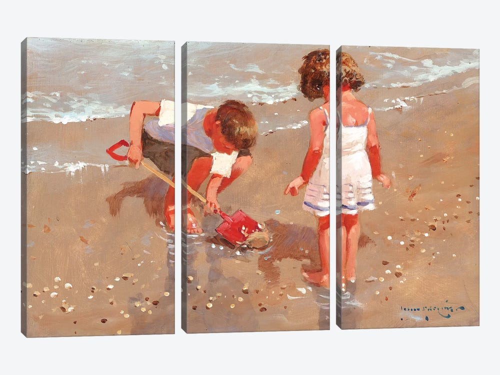 Shellseekers by John Haskins 3-piece Canvas Art