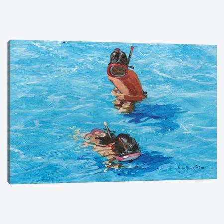 Snorkellers Canvas Print #JHS51} by John Haskins Canvas Print