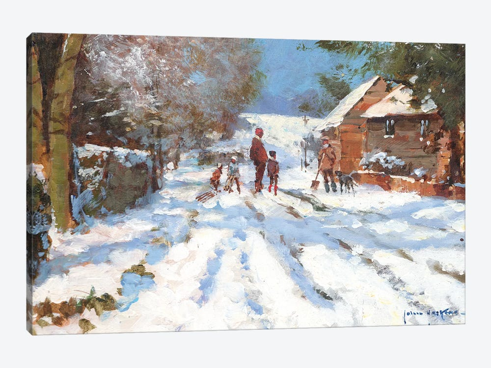 Snow On The Ashwell Road by John Haskins 1-piece Canvas Artwork