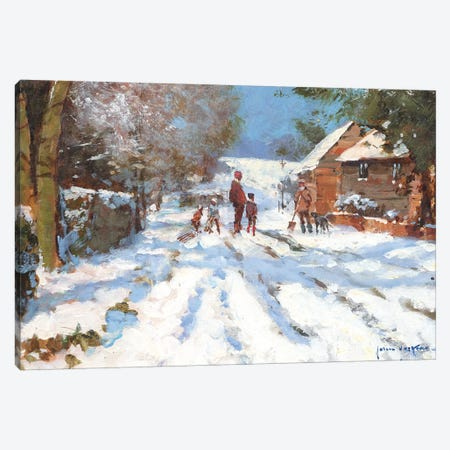 Snow On The Ashwell Road Canvas Print #JHS52} by John Haskins Canvas Print