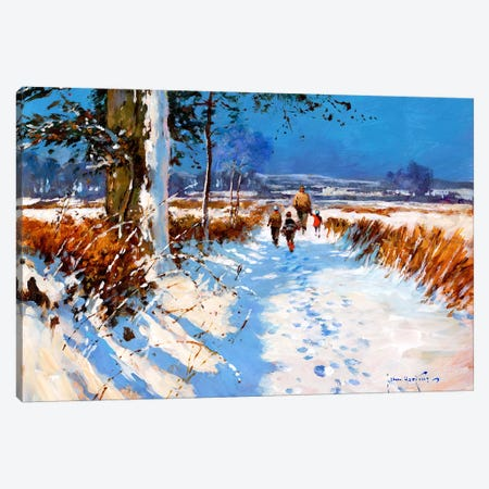 Snow On The Bridleway Canvas Print #JHS53} by John Haskins Canvas Art Print