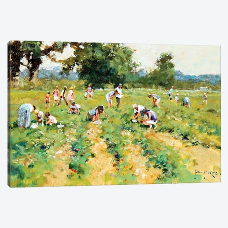 Strawberry Pickers Canvas Print #JHS56} by John Haskins Canvas Artwork
