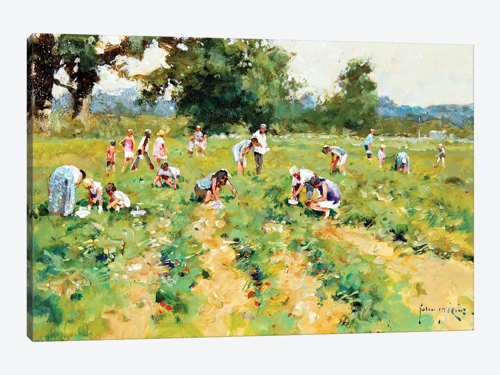 Strawberry Pickers by John Haskins 1-piece Canvas Wall Art
