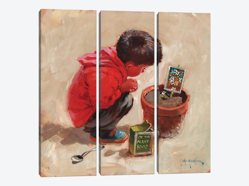 The Patient Gardener by John Haskins 3-piece Art Print