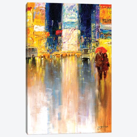 Times Square Evening Canvas Print #JHS66} by John Haskins Art Print