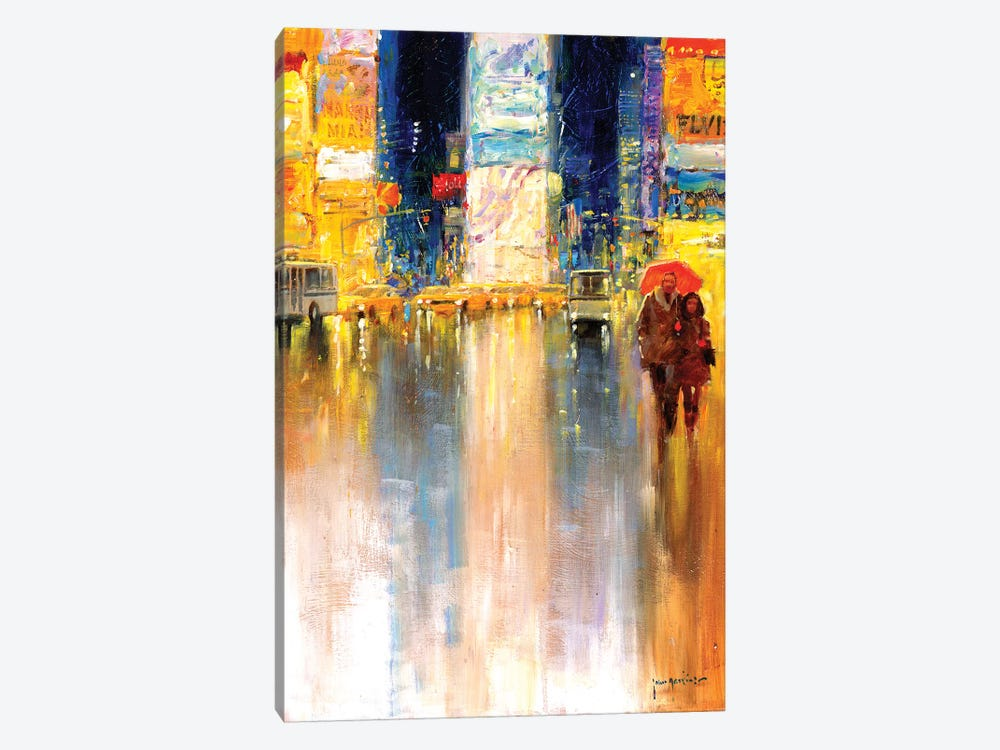 Times Square Evening by John Haskins 1-piece Canvas Art Print
