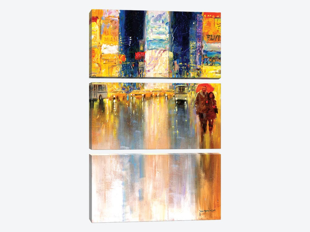 Times Square Evening by John Haskins 3-piece Canvas Art Print
