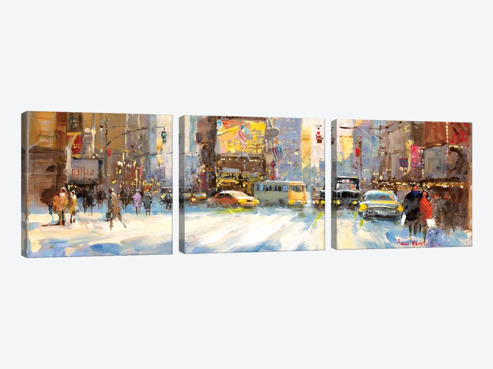 Times Square I by John Haskins 3-piece Canvas Art