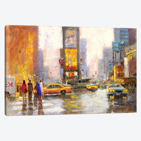Times Square In The Rain Canvas Print #JHS69} by John Haskins Canvas Art