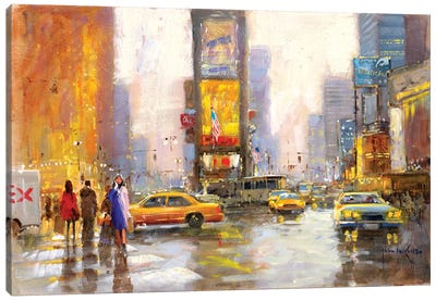 Times Square In The Rain Canvas Art Print