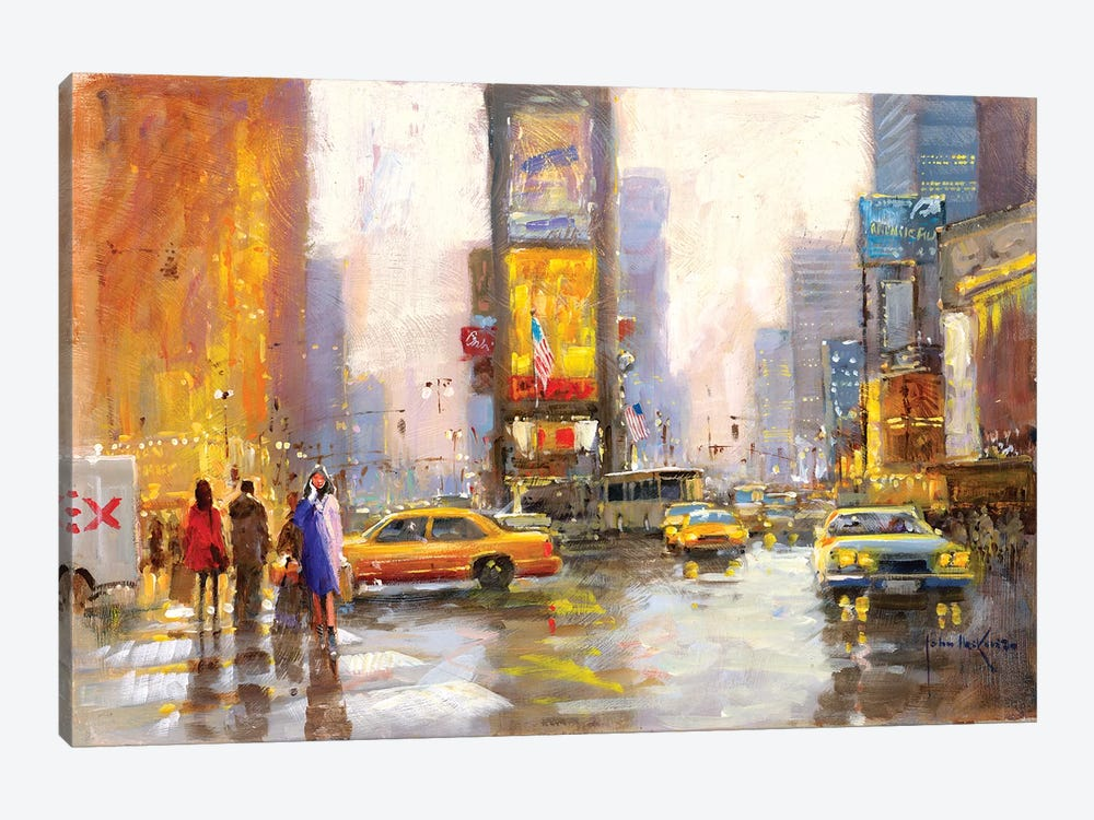 Times Square In The Rain by John Haskins 1-piece Canvas Wall Art