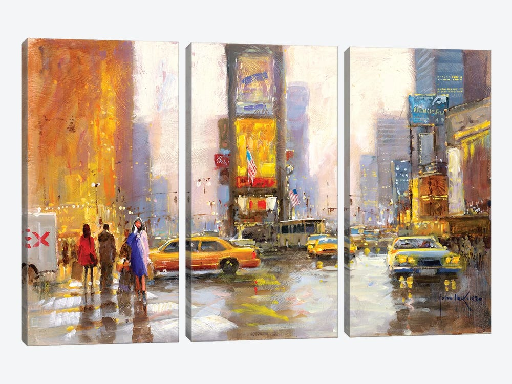 Times Square In The Rain by John Haskins 3-piece Canvas Wall Art