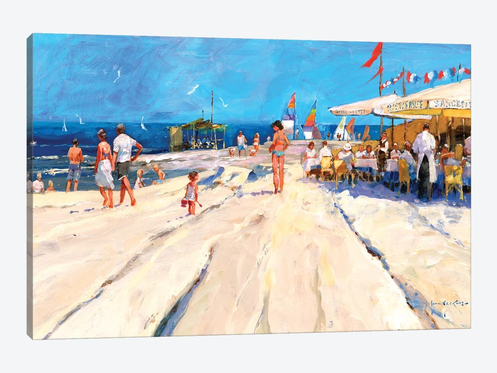 Beach Café At Midday by John Haskins 1-piece Canvas Wall Art