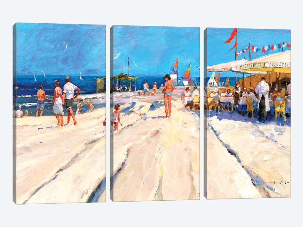 Beach Café At Midday by John Haskins 3-piece Canvas Art