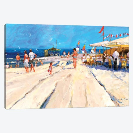 Beach Café At Midday Canvas Print #JHS6} by John Haskins Canvas Artwork