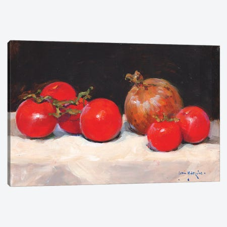 Tomatoes And Onion Canvas Print #JHS70} by John Haskins Canvas Art Print