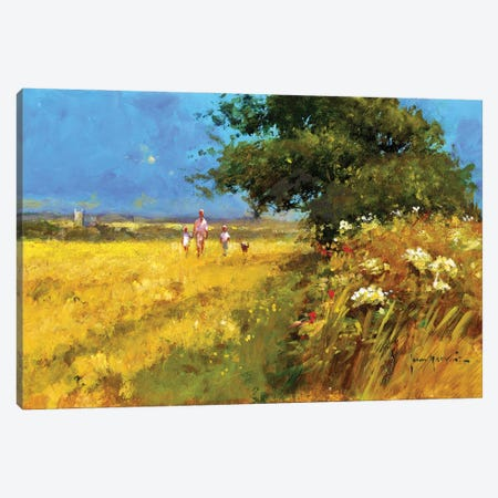A Walk In The Field Canvas Print #JHS74} by John Haskins Canvas Wall Art