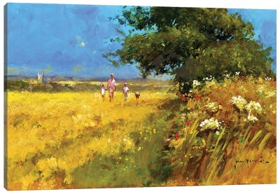 A Walk In The Field Canvas Art Print