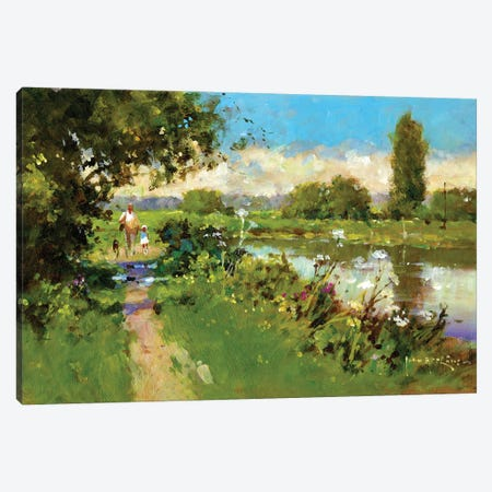 Afternoon Walk Canvas Print #JHS75} by John Haskins Canvas Artwork