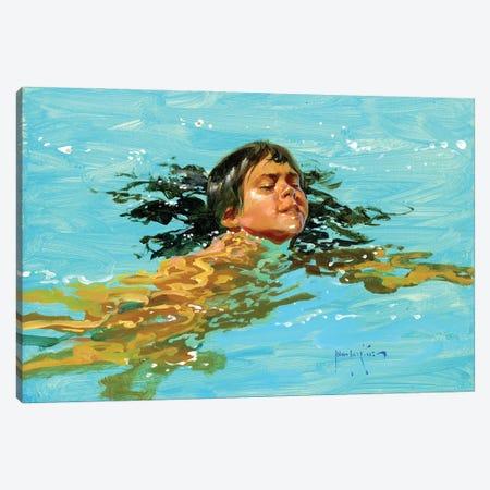 My Best Swim Yet.. Canvas Print #JHS80} by John Haskins Canvas Art