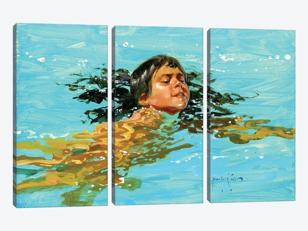 My Best Swim Yet.. by John Haskins 3-piece Canvas Print
