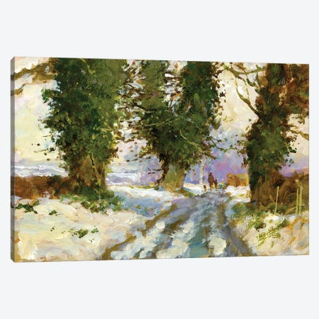 Snow In The Lane (Cardington) Canvas Print #JHS81} by John Haskins Canvas Wall Art