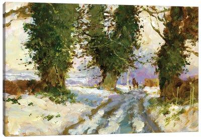 Snow In The Lane (Cardington) Canvas Art Print