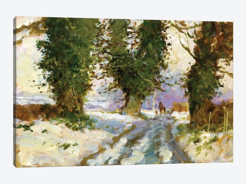 Snow In The Lane (Cardington) by John Haskins 1-piece Canvas Artwork