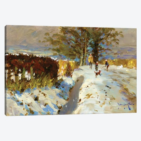 Snow On The Back Lane Canvas Print #JHS82} by John Haskins Canvas Artwork