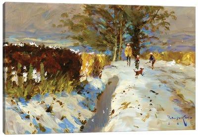Snow On The Back Lane Canvas Art Print